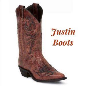 Justin ♥️ Red Glazed Puma Cowhide Bent Rail Boots